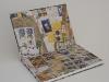 carnet blanc de voyage, page de garde avec papier d'emballage oxfam de récup'